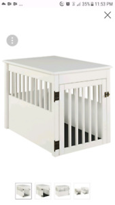 New Ruffluv Large Pet Crate End Table, White