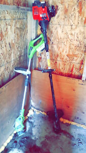 2 Grass trimmer, electric + Gas