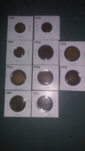 Canadian pennies from 1800 Anderly 1900s