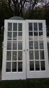 Gently used solid wood interior french doors
