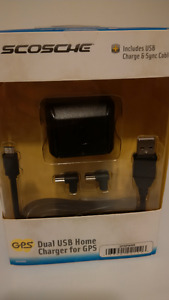 Scosche Dual USB Home Charger For Phone/GPS & more NEW IN BOX