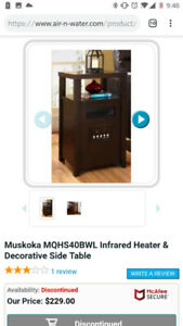 WOW REMOTE CONTROL MUSKOKA INFARED HEATER FIREPLACE & SIDE TABLE