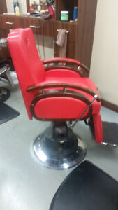 SET OF 4 RED BARBER CHAIRS