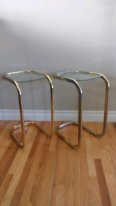 Small vintage brass and glass side tables