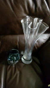 Lenox flute vase and heavy tealight candle holder