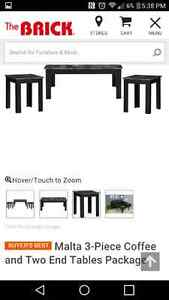 New black/grey marble look coffee table set
