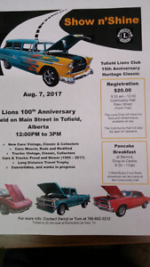August 7th Tofield lions club 15th anniversary heritage show and