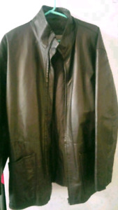 MENS DARK BROWN LEATHER JACKET SIZE L