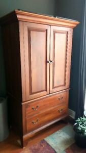 Solid Cherry Wood Hutch, Entertainment Unit, Armoire, Wardrobe