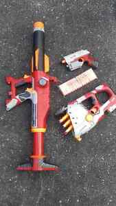 Nerf Missile launcher and rapid fire and pistol...$70.+ value