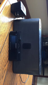 Sony Speaker System and Clock Radio with iPod Dock, Black