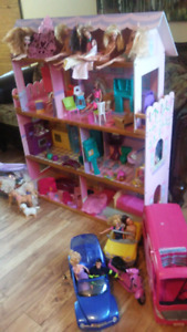 Large doll house and accessories