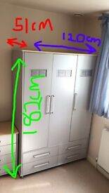 Silver grey 3 door, 4 drawer bedroom wardrobe and 4 drawer chest of drawers