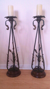 2 floor candle stand, 1 plant stand and decor