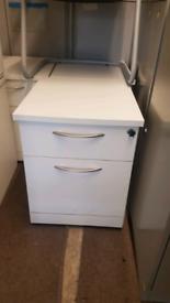 Lockable White Wood Effect 2 Drawer Office Under Desk Pedestals 16 ava