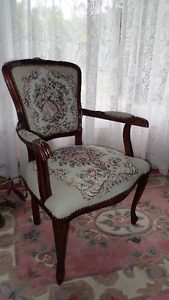 Antique style embroidered parlour chair