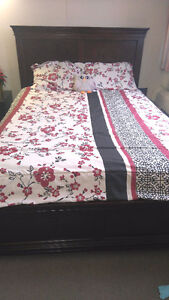 Queen bed frame and mattress set, night stand from Brick Edmonton Edmonton Area image 2