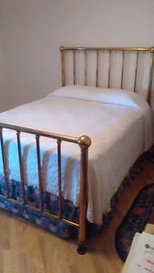 Quality brass bed, antique.