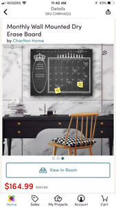 Black Dry Erase Monthly Calendar Memo Board