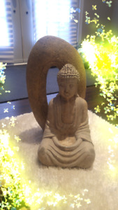 STONE BUDDHA WITH OVAL PIECE