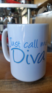 """""""Just call me Diva"""" Coffee Mug Large 15 oz White -mint condition"""