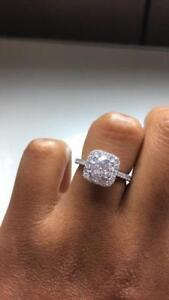 1.04 Ct. Center stone NATURAL Diamond in 18K White Gold Engagement ring HALO STYLE  (Size 5) with T.C.W of 1.64 CT.