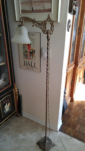"Spectacular ornate antique  brass floor lamp  60"" tall"