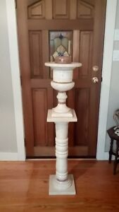 Marble Pedestal and Giant Marble Vase