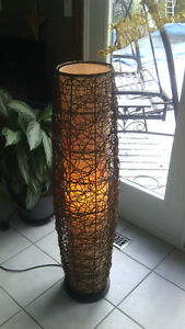 Natural brown wicker floor lamp