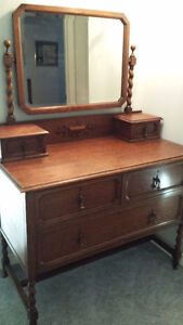 Antique dresser with mirror - all wood!