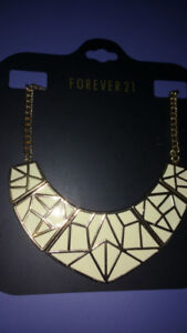 NEW Cream and Gold Statement Piece Necklace