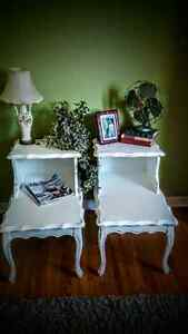2 WHITE  FRENCH PROVINCIAL TABLES!!!!