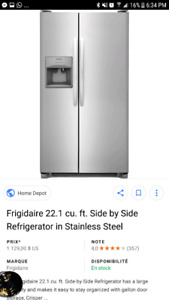 Frigidaire 22.1 cu ft. Side by side refrigerator stainless steel