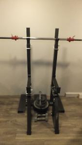 squat rack avec barres et poids