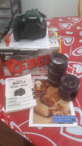 Canon Rebel T3. 18-55mm and 55-250mm..