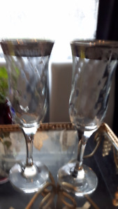 Pair of Crystal  Champagne Glasses with Silver Trim