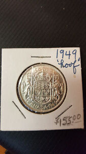 1949 Canadian 50 cent coin - Hoof touching 9