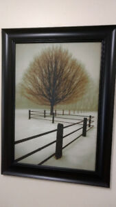 "Print of Trees & Fence by David Winston-'Solitude'; 31"" L x 23"""