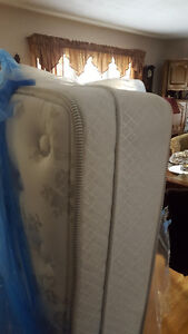 QUEEN SIZE pillow top mattress and box spring 300.00 delivery av