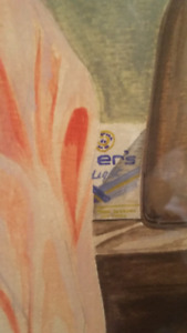 Authentic water color picture - note cigarette pkg in background