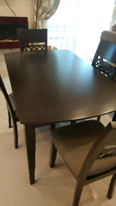 Dark brown solid wood dinning table and chair sets
