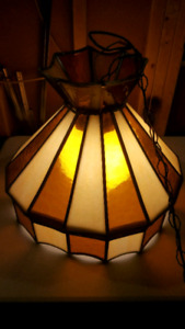 TWO TIFFANY STYLE STAINED GLASS HANGING LIGHT FIXTURE