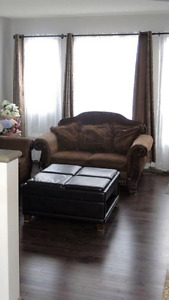 Sofa and love seat and ottoman