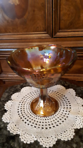 Carnival glass fruit compote almost 9 x 8.5 inches