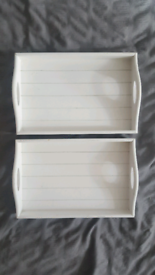 White/ivory wooden folding lap trays