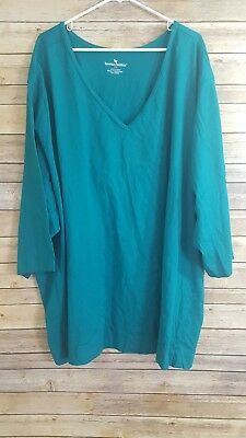 Womens Woman Within Teal Green V Neck Tunic Top Size 7X