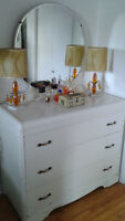 Vintage Dresser with Mirror and Two Nightstands