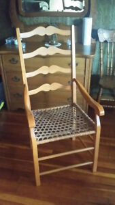 4 beautiful high end ladderback chairs with rawhide seats