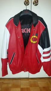 Chicago Black Hawks Men's XL Leather Jacket - reversible