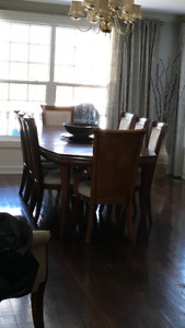 Full dining table set with 8 chairs and matching hutch
